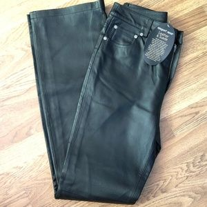 NWT Newport News Size 6T Black Leather Pants *91S*